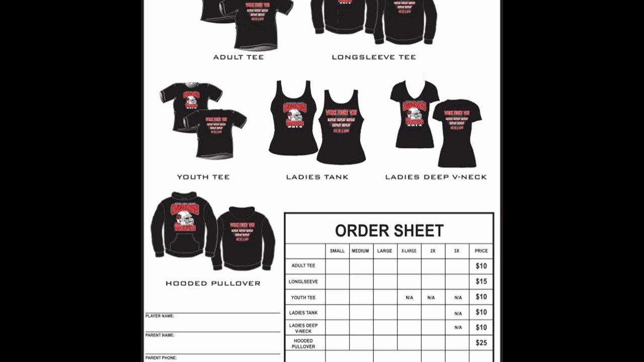 Tshirt order form Template Elegant T Shirt order form Template Excel