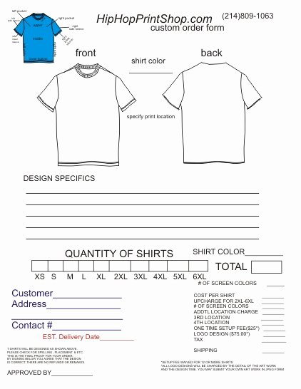 Tshirt order form Template Inspirational T Shirt order form Template