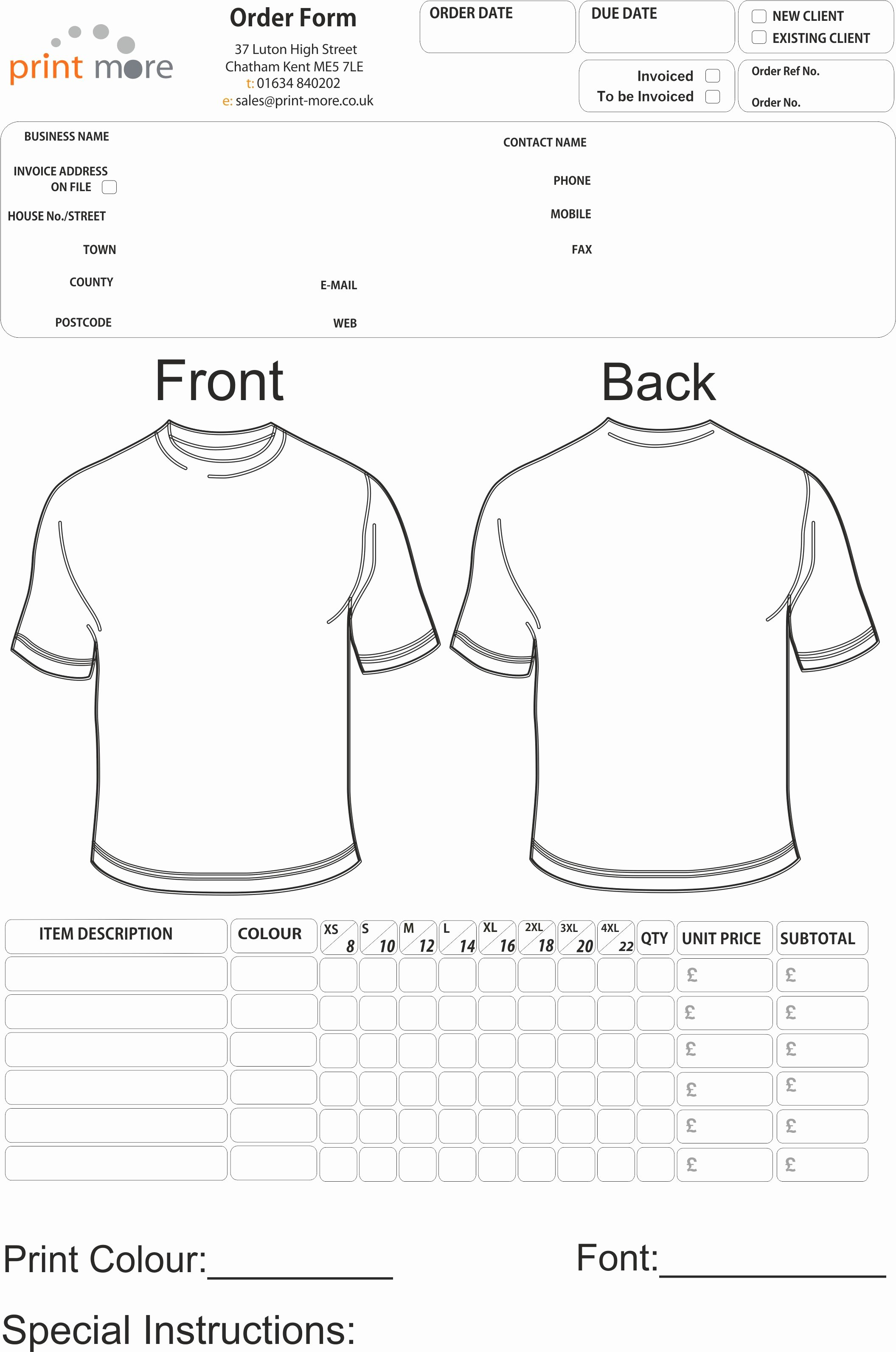 Tshirt order form Template Unique T Shirt order form Template