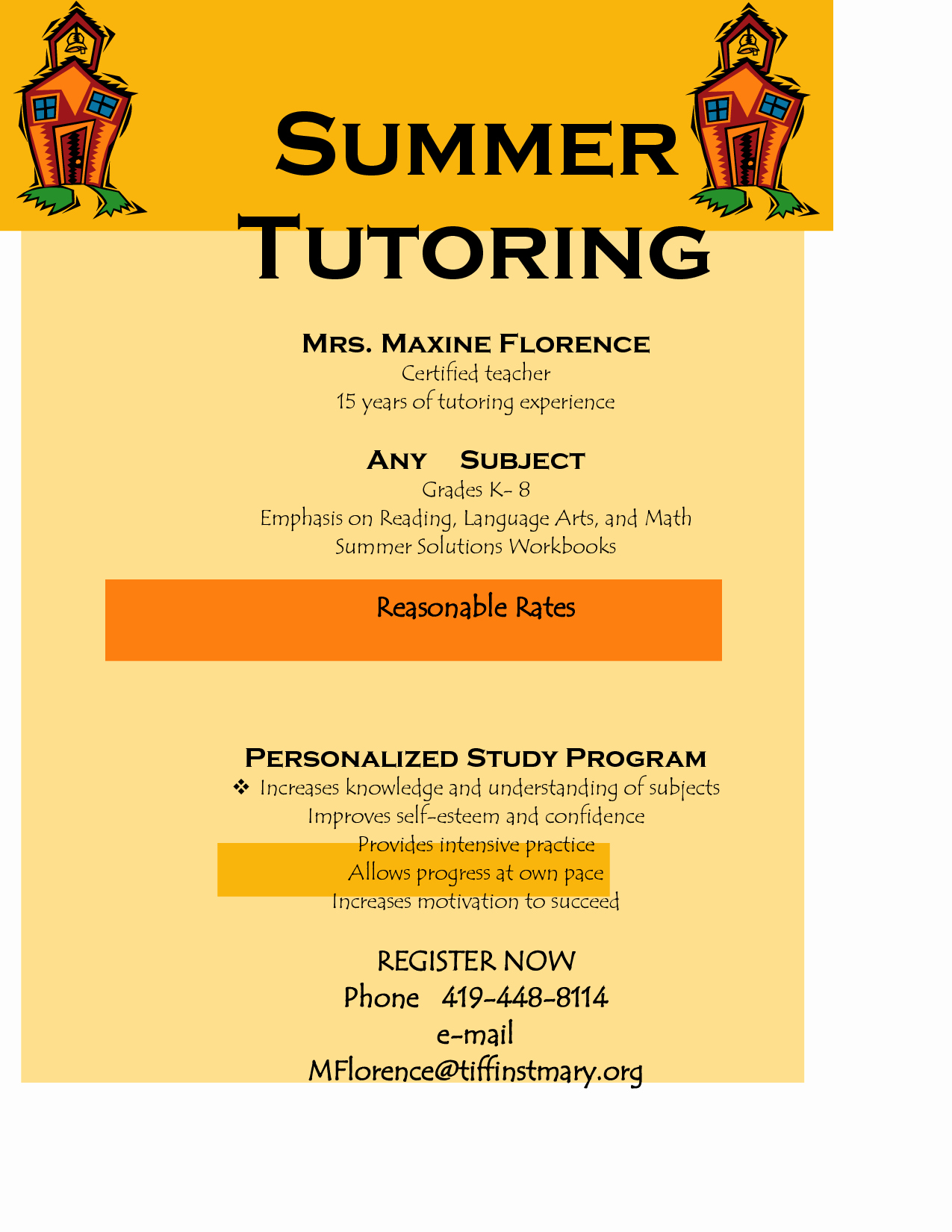 Tutor Flyer Template Free Lovely Flyer for Tutoring Services