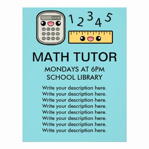 Tutoring Flyers Template Free Luxury Cute Calculator and Ruler Math Tutor Template Custom Flyer