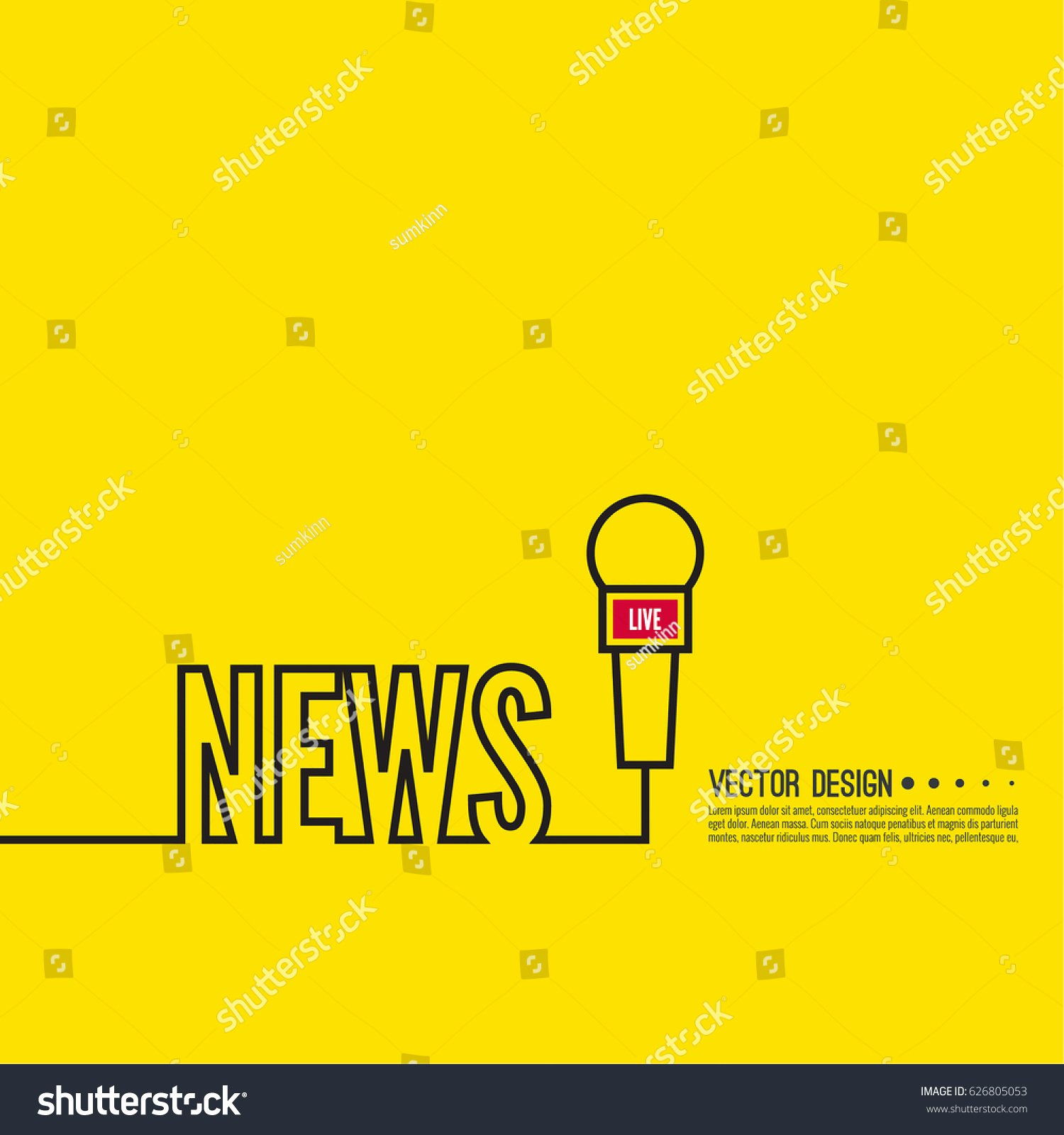 Tv Show Concept Template Unique Journalism Concept Live News Template Microphone Stock