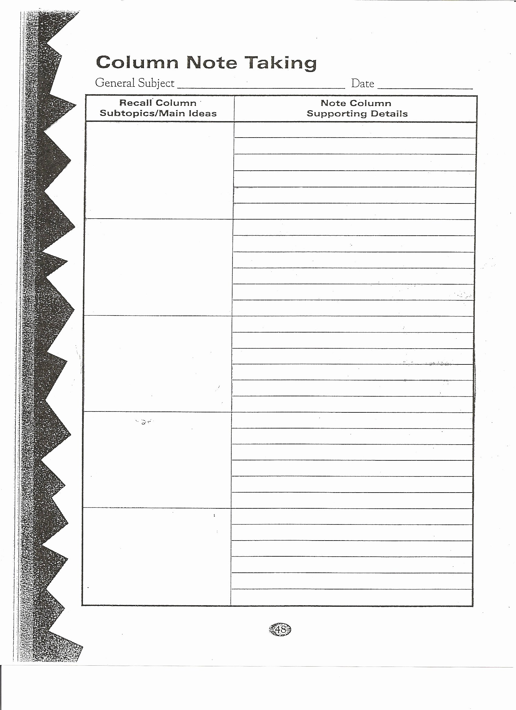 Two Column Notes Template Awesome Note Taking Graphic organizwer to Pin On