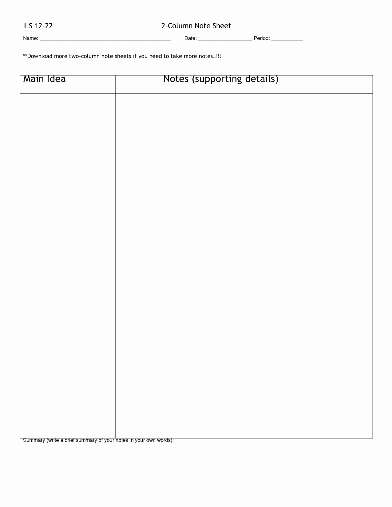 Two Column Notes Template Fresh 7 Best Of Printable Two Column Notes Blank 2