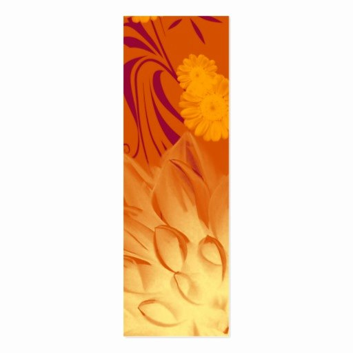 Two Sided Bookmark Template Lovely Bookmark orange Yellow Flowers Custom Template Double