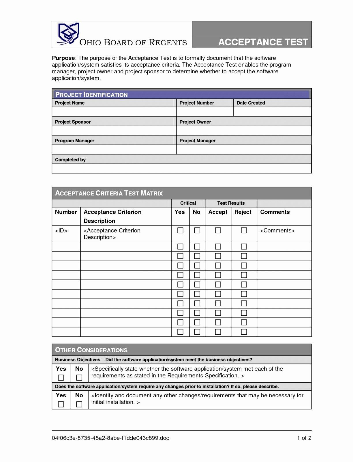 Uat Test Plan Template Unique 7 Factory Acceptance Test Plan Template Iprye
