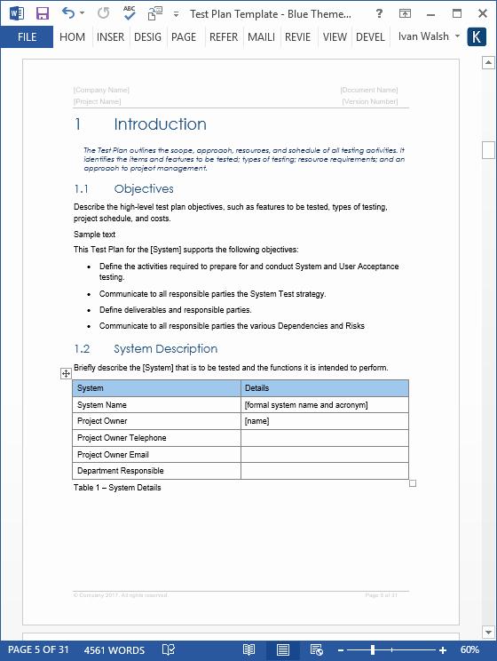 Uat Testing Plan Template Luxury Test Plan – Download Ms Word & Excel Template