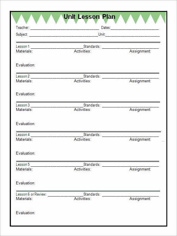 Unit Lesson Plan Template Awesome 12 Sample Unit Plan Templates to Download for Free