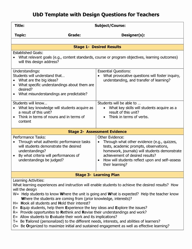 Unit Lesson Plan Template Awesome 78 Best Understanding by Design Images On Pinterest