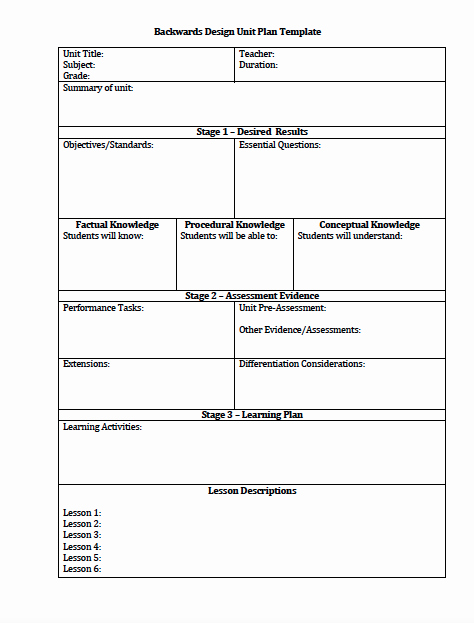Unit Lesson Plan Template Elegant the Idea Backpack Unit Plan and Lesson Plan Templates for