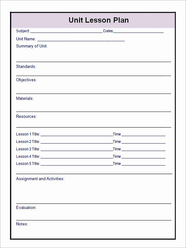 Unit Lesson Plan Template Fresh 12 Sample Unit Plan Templates to Download for Free