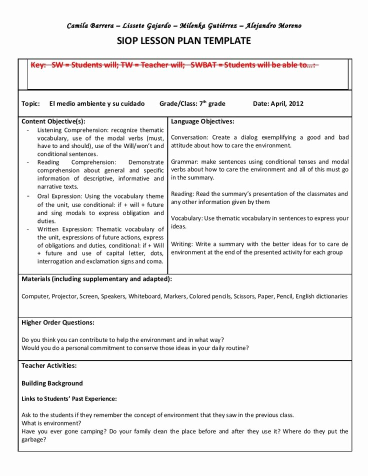 Unit Lesson Plan Template Luxury Siop Unit Lesson Plan Template Sei Model