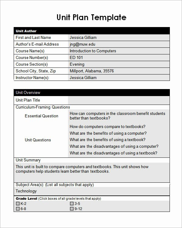 Unit Lesson Plan Template Unique Unit Plan Template 11 Download Documents In Pdf Word