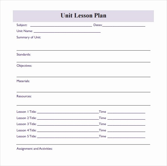 Unit Lesson Plans Template Beautiful 11 Sample Blank Lesson Plans