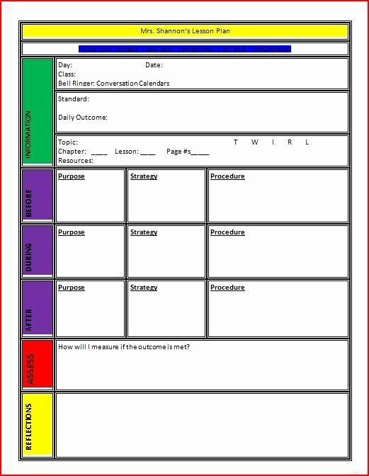 Unit Lesson Plans Template Inspirational Plan Templates