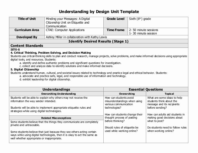 Unit Lesson Plans Template Luxury Digital Citizenship Collaborative Unit Lesson Plan
