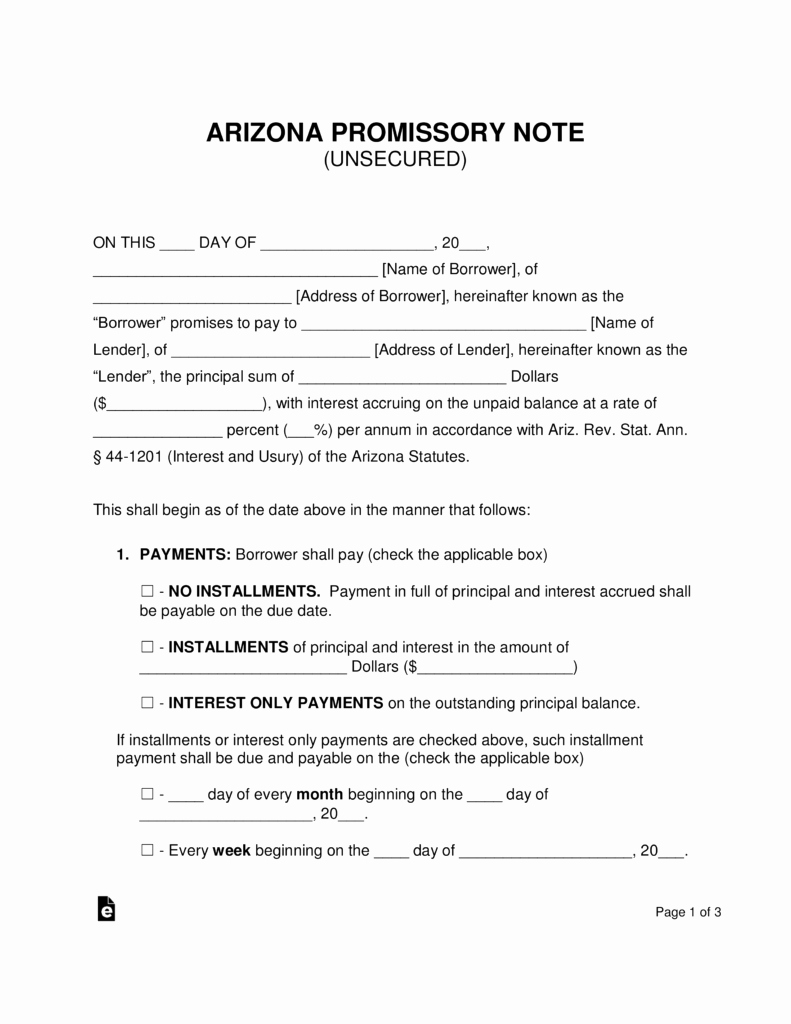 arizona unsecured promissory note template