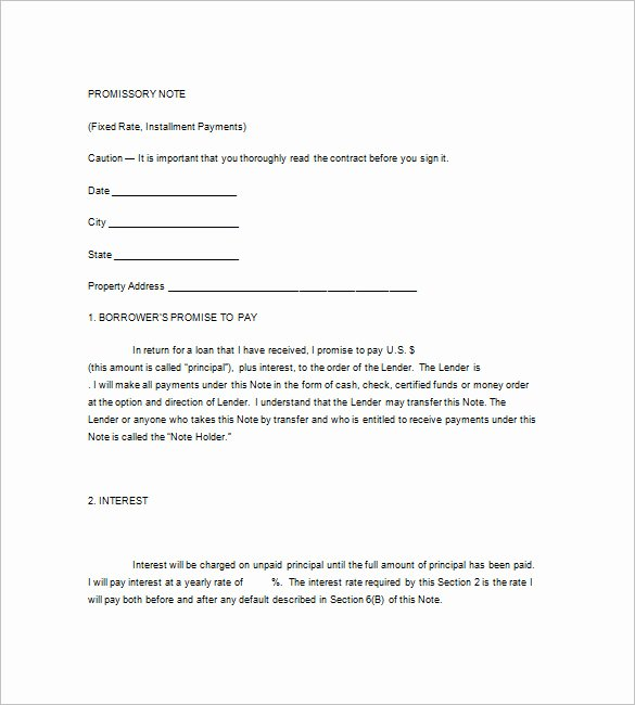 Unsecured Promissory Note Template Best Of Promissory Note form Template – 8 Free Word Excel Pdf