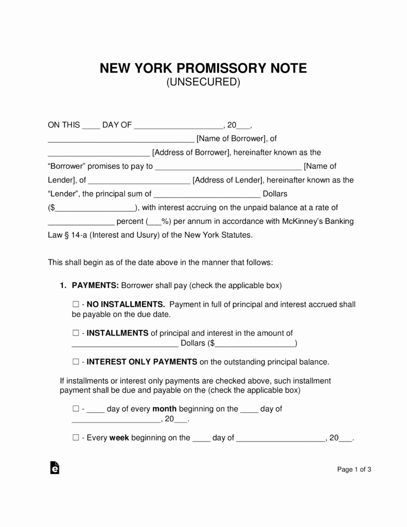Unsecured Promissory Note Template Luxury Free New York Unsecured Promissory Note Template Word