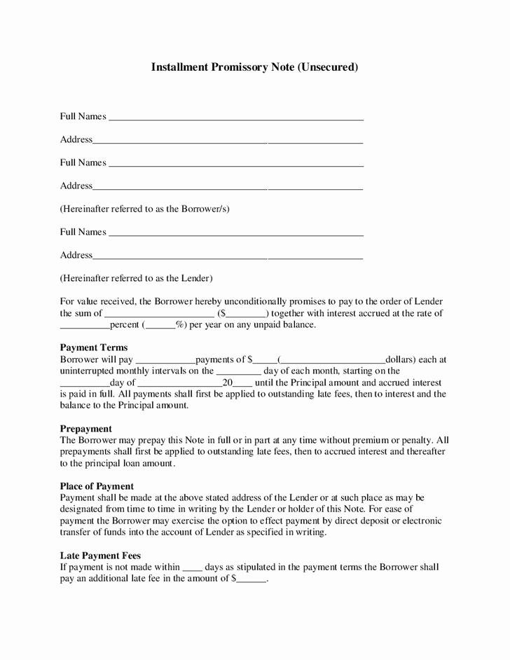 Unsecured Promissory Note Template New Best S Of Installment Promissory Note Template