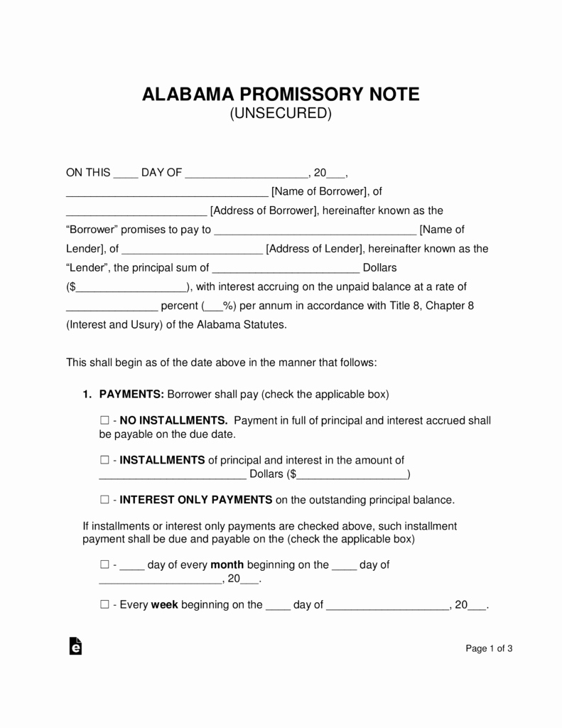 Unsecured Promissory Note Template New Free Alabama Unsecured Promissory Note Template Pdf