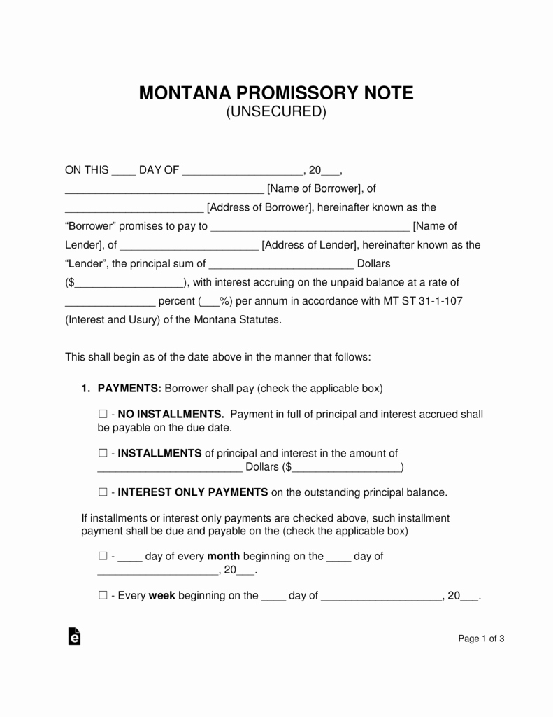 Unsecured Promissory Note Template New Free Montana Unsecured Promissory Note Template Word
