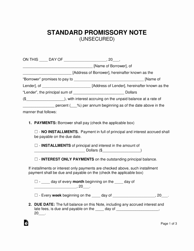 Unsecured Promissory Note Template Unique Free Unsecured Promissory Note Template Word