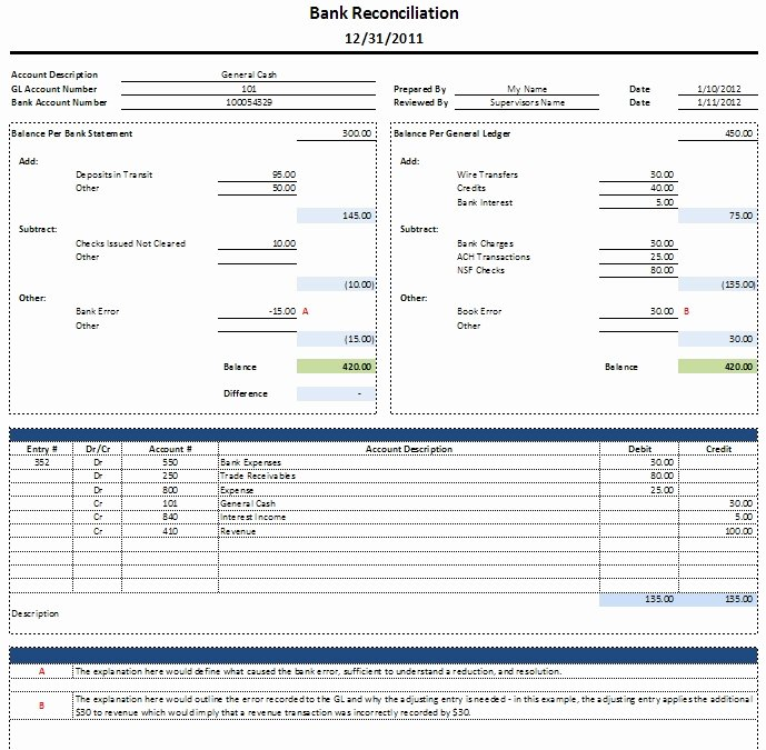 Us Bank Statement Template Best Of Bank Reconciliation Template