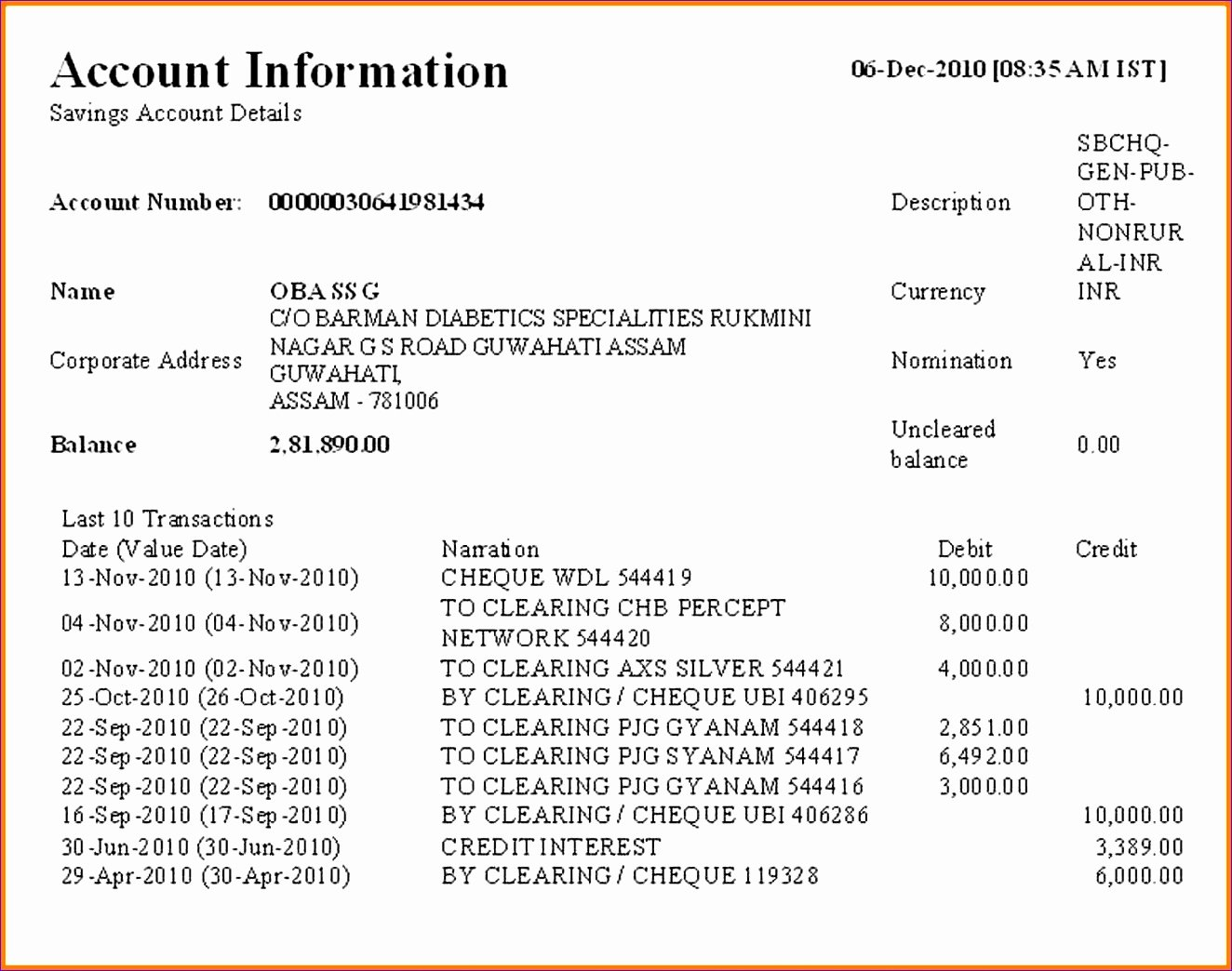 Us Bank Statement Template New 10 Bank Account Excel Template Exceltemplates