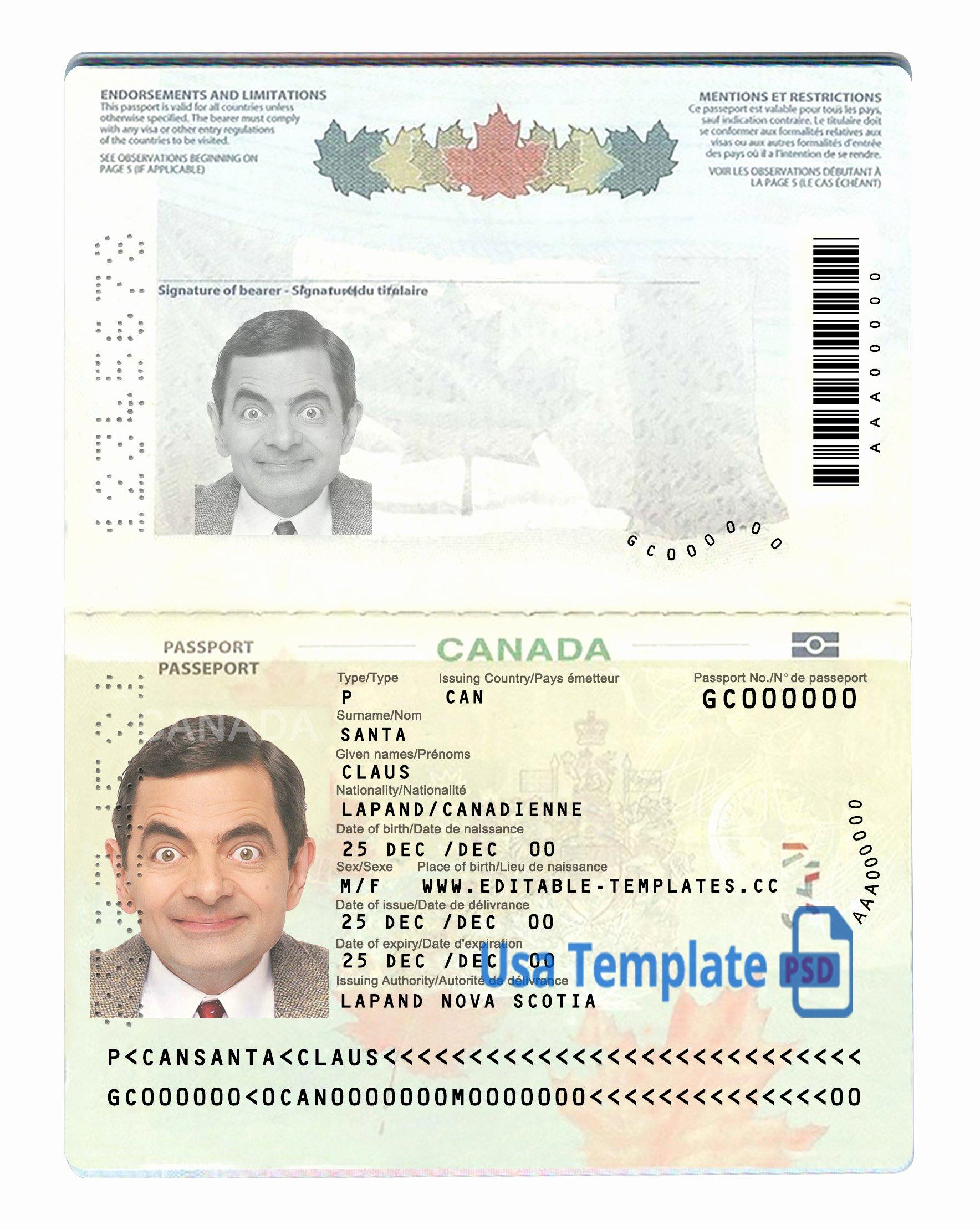 Us Passport Template Psd New Canada Passport Psd Template Usa Template Psd