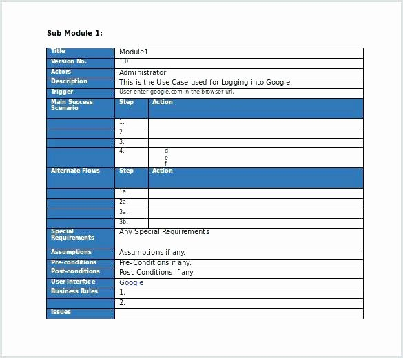 Use Case Document Template Lovely Free Editable Use Test Case Template Ms Word Download
