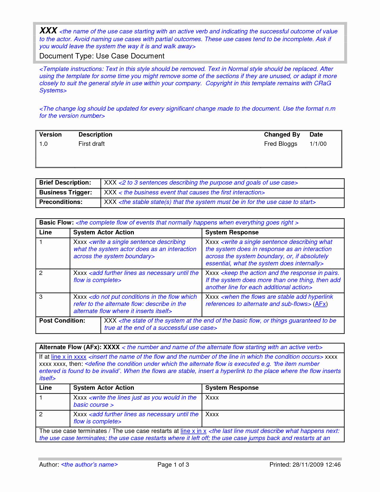 Use Case Document Template Luxury Use Case Template