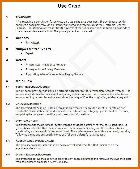Use Case Template Word Unique 7 8 Use Case Document Example