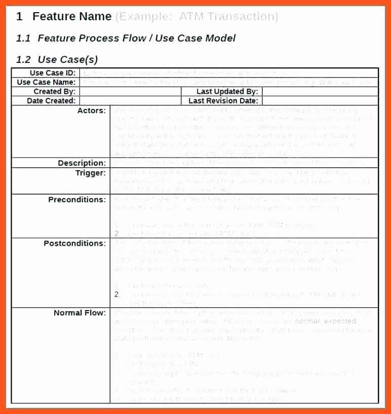 Use Cases Document Template Awesome Printable Use Case Template Description Specification