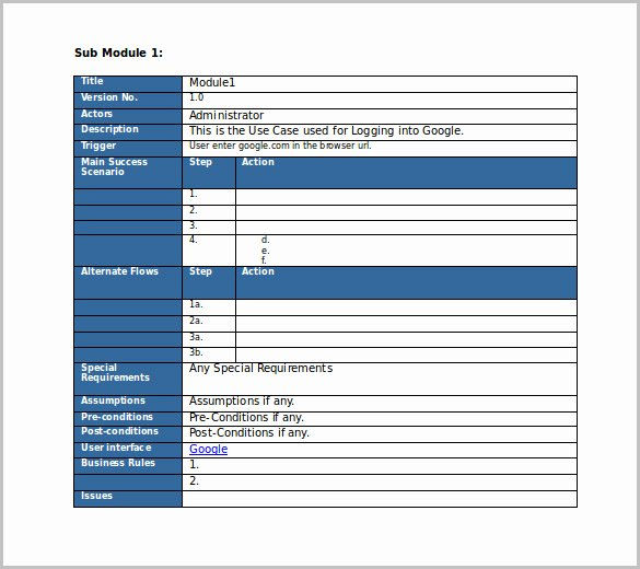 Use Cases Document Template Awesome Test Case Template 22 Free Word Excel Pdf Documents