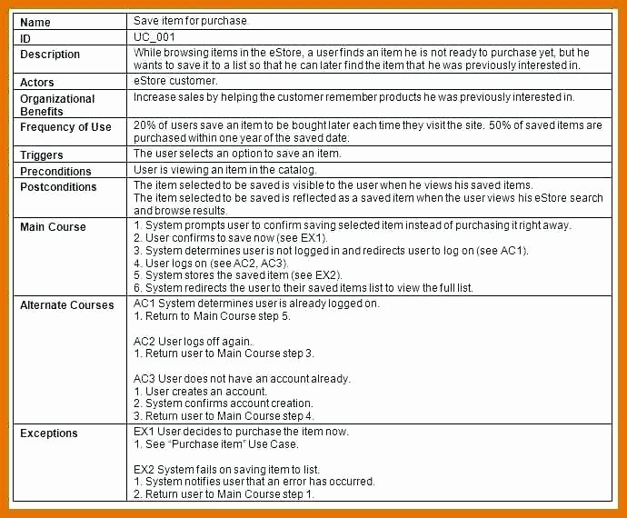Use Cases Document Template Best Of Use Case Description Template Business – Misdesign