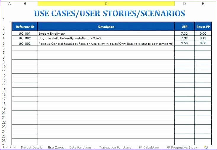 Use Cases Template Excel New Use Case Template with Example Agile Google Beauteous