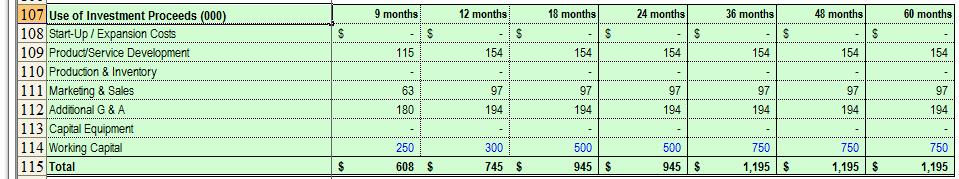Use Of Funds Template Elegant Business Plan Financial Model Template Bizplanbuilder