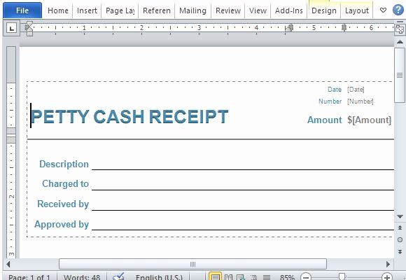 Use Of Funds Template Lovely Petty Cash Receipt form for Word