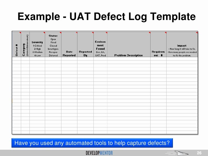 User Acceptance Test Template New Download Defect Tracking Template Excel Sheet software