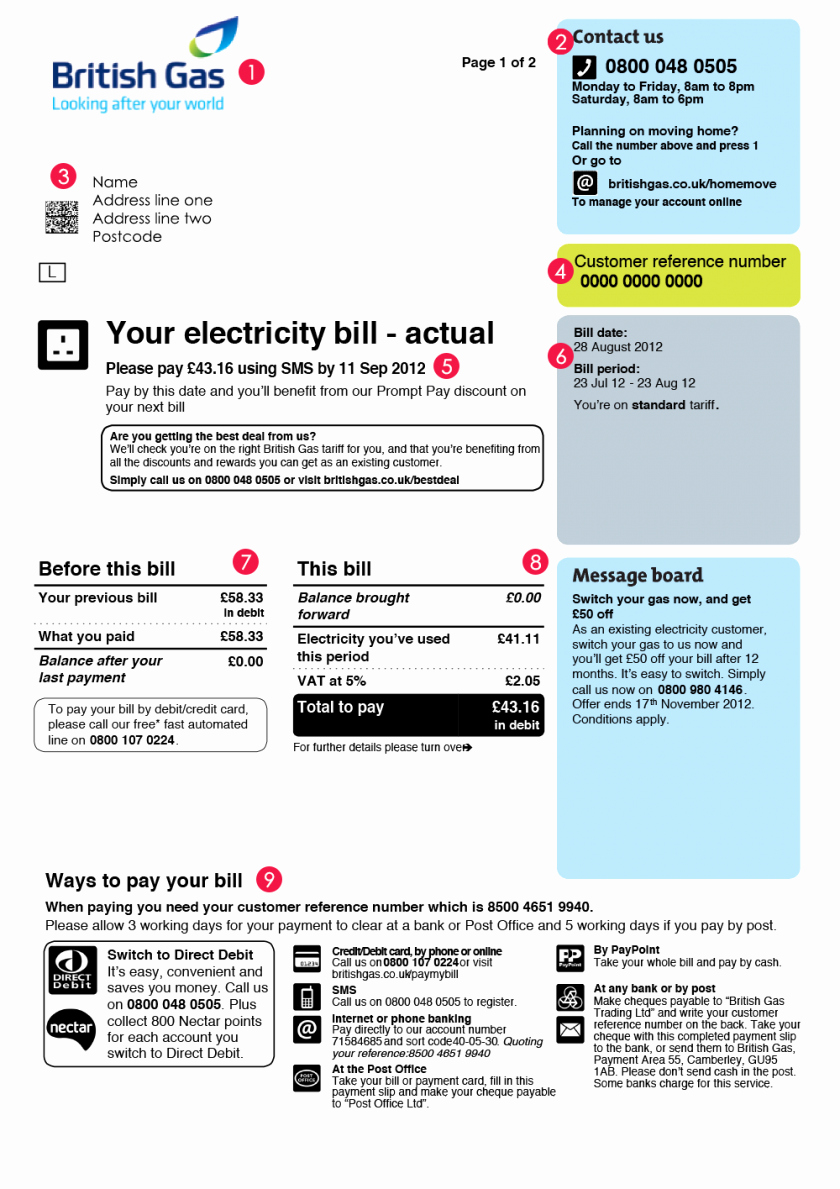 Utility Bill Template Pdf Lovely Utility Bill Templatedf Energy Australia Sample British