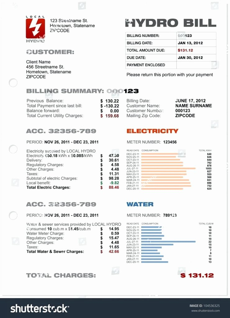 Utility Bill Template Pdf Luxury Utility Bill Template Excel Psd Free Fake Uk Us