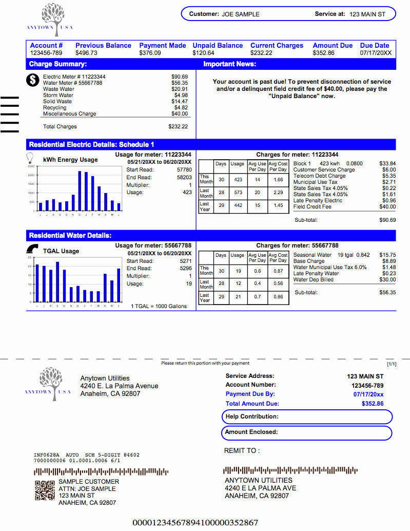 Utility Bill Template Pdf Unique Printable Utility Bill to Pin On Pinterest