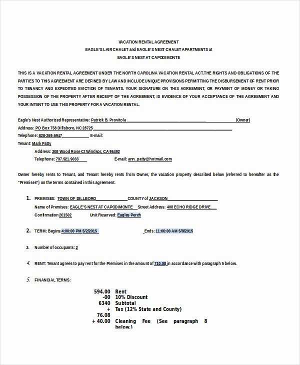 Vacation Rental Agreement Template Beautiful 13 House Rental Agreement Templates Free Download