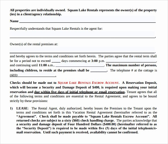 Vacation Rental Agreement Template Best Of 8 Sample Vacation Rental Agreements – Pdf Word