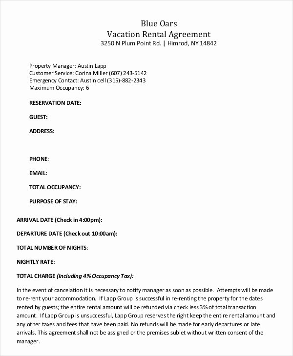 Vacation Rental Agreement Template Best Of Vacation Rental Agreement – 8 Free Word Pdf Documents