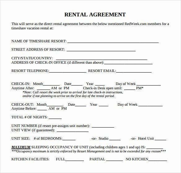 Vacation Rental Agreement Template Elegant 9 Rental Agreement Templates