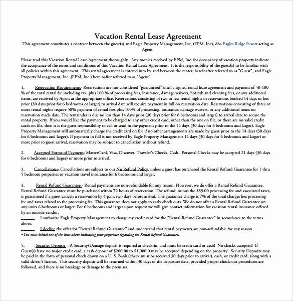 Vacation Rental Agreement Template Fresh 9 Rental Agreement Templates