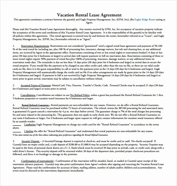 Vacation Rental Agreement Template Lovely 10 Sample Rental Lease Agreement Templates