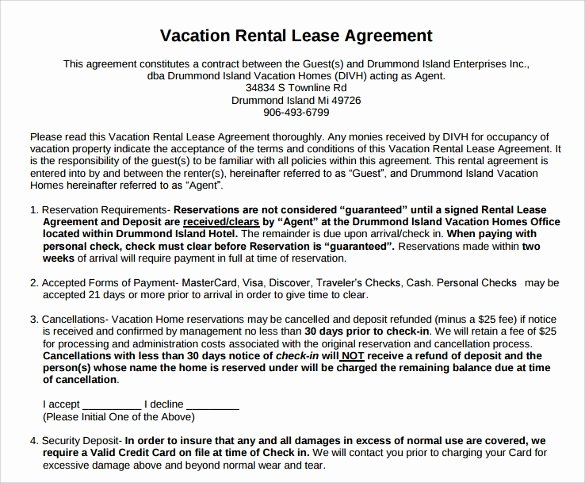Vacation Rental Agreement Template Lovely 8 Vacation Rental Agreement Samples Examples Templates